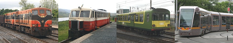 Irish Railways - left to right, Class 141 loco, CDRJC Railcar, Dublin Dart, Dublin LUAS Red LIne tram
