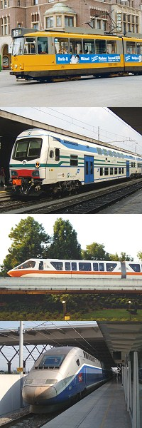 top to bottom - Amsterdam tram, Italian Railways push-pull driving trailer, Walt Disney World monorail, TGV Duplex power car